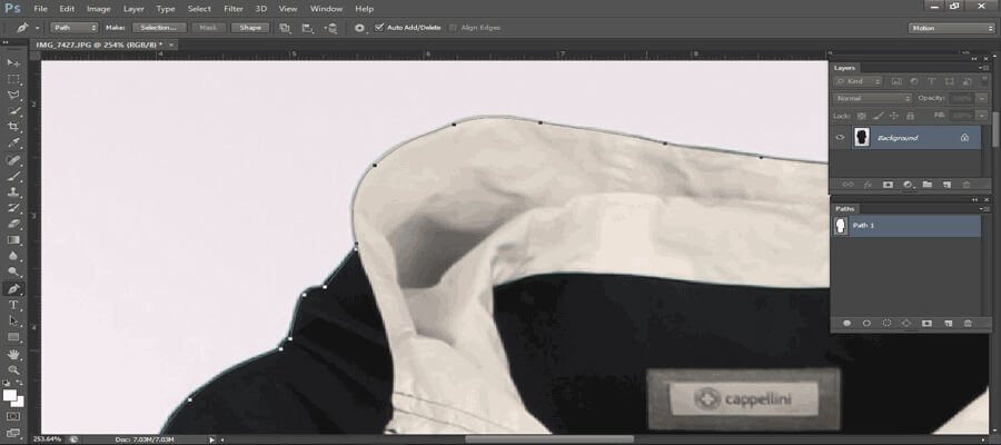 Start image clipping by using pen tool