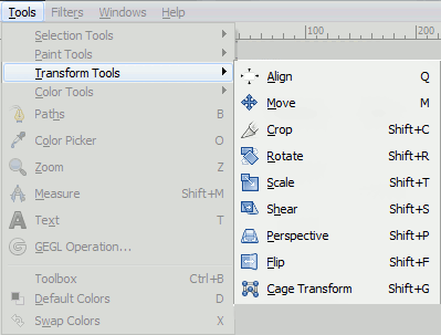 Transform tool in Photoshop