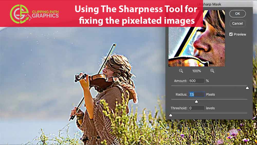 Using-The-Sharpness-Tool-for-fixing-the-pixelated-images